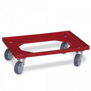 Roller für Eurobehälter, Tragkraft 200 kg, rot, 4 Lenkrollen, Gummiräder