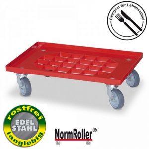 Roller für Eurobehälter, Tragkraft 250 kg, Gitterdeck aus ABS Kunststoff, rot, 4 Edelstahl-Lenkrollen, graue Gummiräder