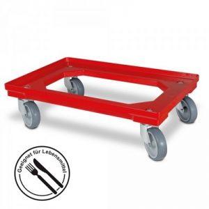 Roller für Eurobehälter, Tragkraft 300 kg, ABS Kunststoff, rot