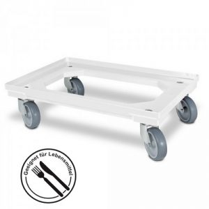 Roller für Eurobehälter, Tragkraft 300 kg, ABS Kunststoff, weiß / natur