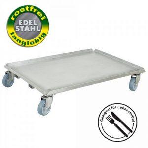 Roller mit geschlossener Deckfläche für Euro-Stapelbehälter 800 x 600 mm oder 2 x 600 x 400 mm, Edelstahl, Lenkrollen verzinkt