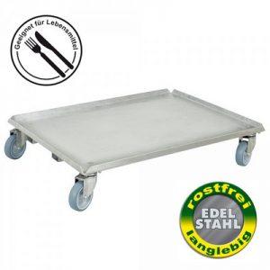 Roller mit geschlossener Deckfläche für Euro-Stapelbehälter 800 x 600 mm oder 2 x 600 x 400 mm, Edelstahl, Lenkrollen Edelstahl