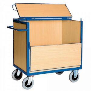 Vierwandwagen / Holzkastenwagen mit Holzwänden u. Deckel, Tragkraft 500 kg, LxBxH 1130 x 715 x 1120 mm