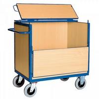 Vierwandwagen / Holzkastenwagen mit Holzwänden u. Deckel, Tragkraft 500 kg, LxBxH 1330 x 825 x 1120 mm