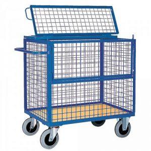 Vierwandwagen mit Draht-Gitterwänden und Deckel, Maschenweite 50 x 50 mm, Tragkraft 500 kg, LxBxH 1330 x 825 x 1120 mm
