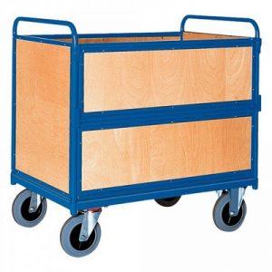 Vierwandwagen mit Holzwänden  / Holzkastenwagen, Tragkraft 500 kg, LxBxH 1060 x 715 x 1075 mm