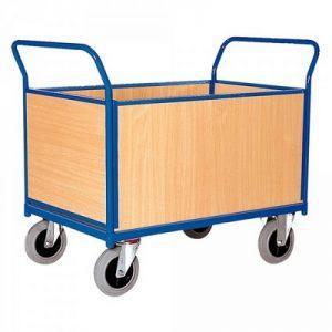Vierwandwagen mit Holzwänden, Tragkraft 500 kg, LxBxH 1030 x 500 x 950 mm