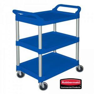 Offener Servierwagen aus Kunststoff (PP), 3 Etagen, LxBxH 850 x 470 x 960 mm, Farbe: blau