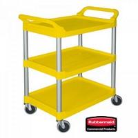 Offener Servierwagen aus Kunststoff (PP), 3 Etagen, LxBxH 850 x 470 x 960 mm, Farbe: gelb