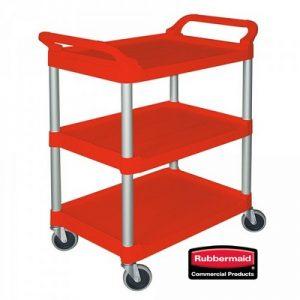 Offener Servierwagen aus Kunststoff (PP), 3 Etagen, LxBxH 850 x 470 x 960 mm, Farbe: rot