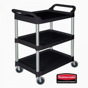 Offener Servierwagen aus Kunststoff (PP), 3 Etagen, LxBxH 850 x 470 x 960 mm, Farbe: schwarz