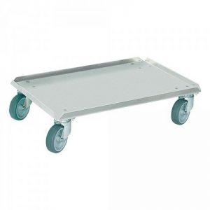 Logistikroller aus Aluminium, geschlossene Deckfläche, Ladefläche 600 x 400 mm