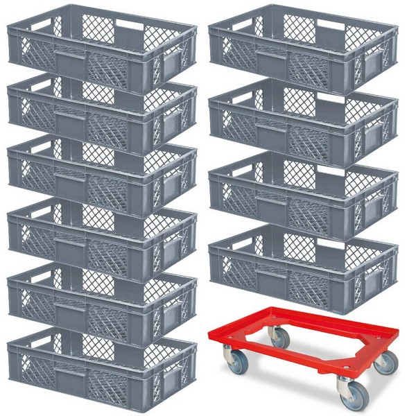 10er SPAR-Set Euro-Stapelkörbe 600x400x150 mm Industriequalität lebensmittelecht, grau, PLUS GRATIS Transportroller