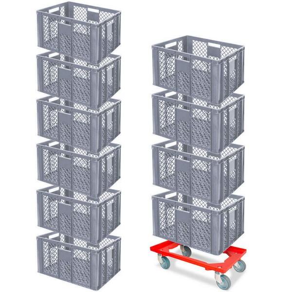 10er SPAR-Set Euro-Stapelkörbe 600x400x320 mm Industriequalität lebensmittelecht, grau PLUS GRATIS Transportroller