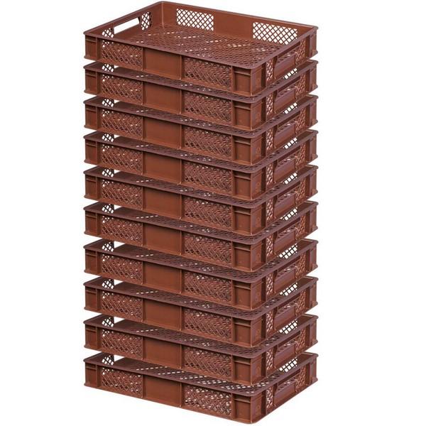 10x Stapelkorb, lebensmittelecht, LxBxH 600 x 400 x 90 mm, 15 Liter, braun
