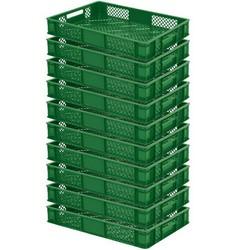 10x Stapelkorb, lebensmittelecht, LxBxH 600 x 400 x 90 mm, 15 Liter, grün