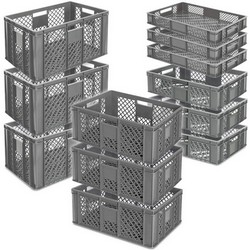 12x Stapelkorb / Bäckerkiste in 4 Größen, Grundmaß LxB 600x400 mm, H 90 mm, 150 mm, 240 mm, 320 mm, Farbe grau