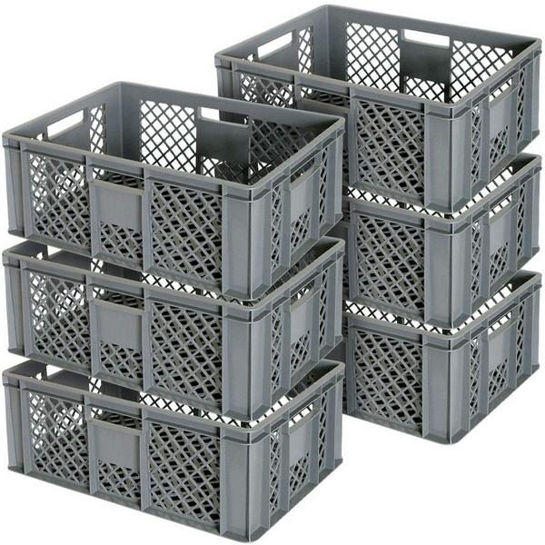 6x Stapelkorb / Eurokasten durchbrochen, Industriequalität, lebensmittelecht, 600x400x240 mm, grau