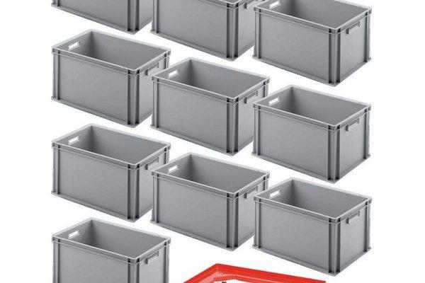 10er SPAR-Set Euro-Behälter 600x400x320 mm Industriequalität lebensmittelecht grau